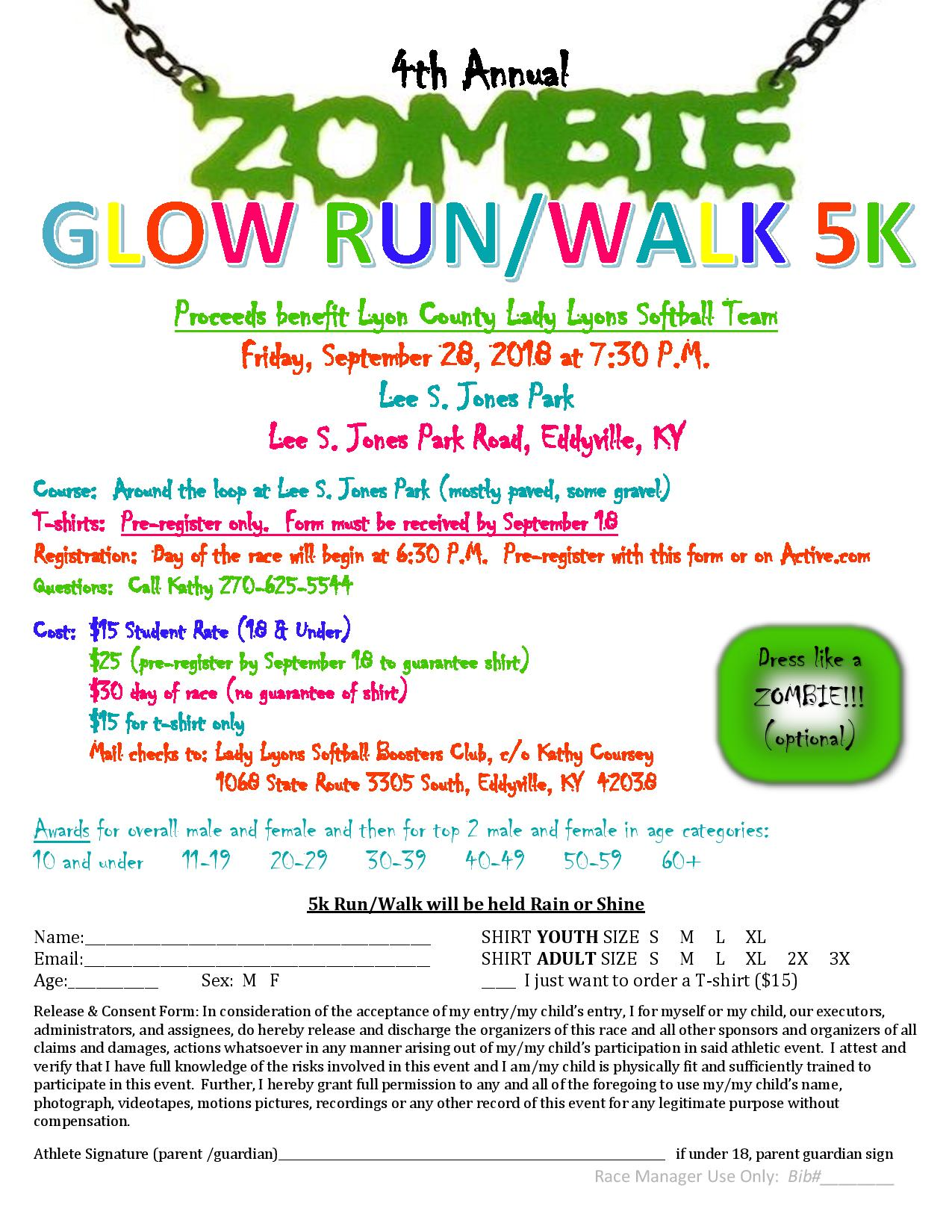 Zombie Glow Run/Walk 2018 Registration Form