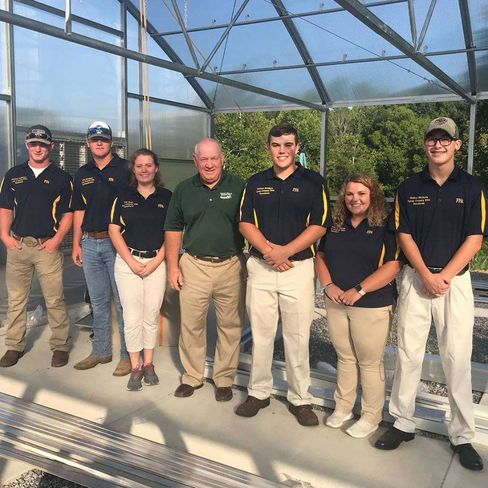 Ms. Mercedes Smith and the LCHS FFA officers were joined at the greenhouse construction site this afternoon by Mr. Warren Beeler, Executive Director of the Governor's Office of Agriculture Policy.